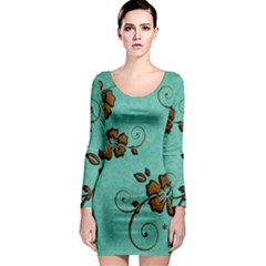 Chocolate Background Floral Pattern Long Sleeve Bodycon Dress