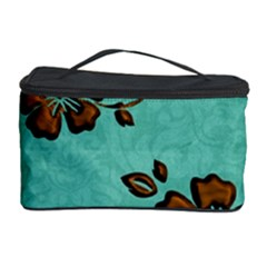 Chocolate Background Floral Pattern Cosmetic Storage Case by Nexatart