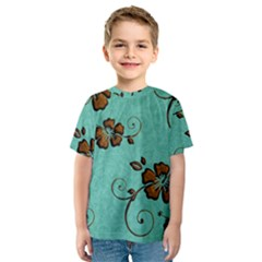 Chocolate Background Floral Pattern Kids  Sport Mesh Tee