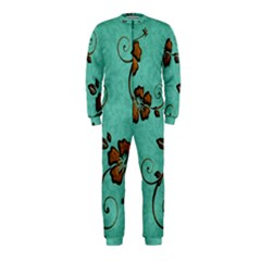 Chocolate Background Floral Pattern Onepiece Jumpsuit (kids)