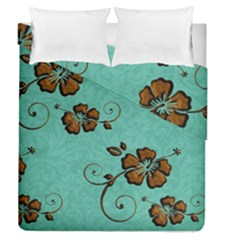 Chocolate Background Floral Pattern Duvet Cover Double Side (queen Size)