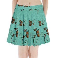Chocolate Background Floral Pattern Pleated Mini Skirt