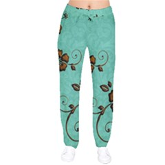 Chocolate Background Floral Pattern Drawstring Pants