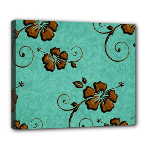 Chocolate Background Floral Pattern Deluxe Canvas 24  X 20   by Nexatart