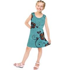 Chocolate Background Floral Pattern Kids  Tunic Dress
