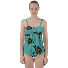 Chocolate Background Floral Pattern Twist Front Tankini Set