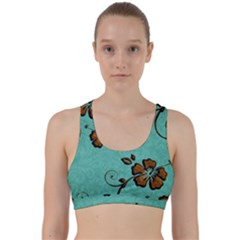 Chocolate Background Floral Pattern Back Weave Sports Bra