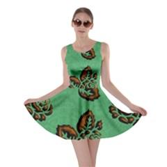 Chocolate Background Floral Pattern Skater Dress