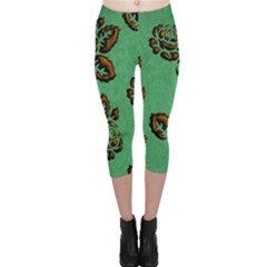 Chocolate Background Floral Pattern Capri Leggings