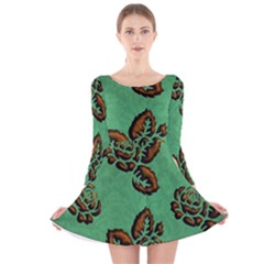 Chocolate Background Floral Pattern Long Sleeve Velvet Skater Dress