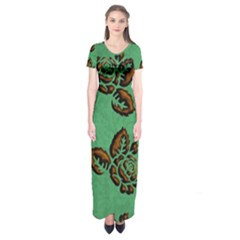Chocolate Background Floral Pattern Short Sleeve Maxi Dress