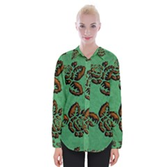 Chocolate Background Floral Pattern Womens Long Sleeve Shirt