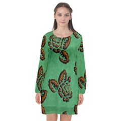 Chocolate Background Floral Pattern Long Sleeve Chiffon Shift Dress