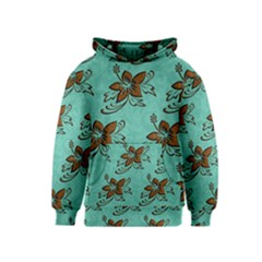 Chocolate Background Floral Pattern Kids  Pullover Hoodie