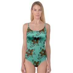 Chocolate Background Floral Pattern Camisole Leotard