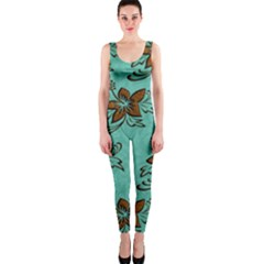 Chocolate Background Floral Pattern Onepiece Catsuit by Nexatart