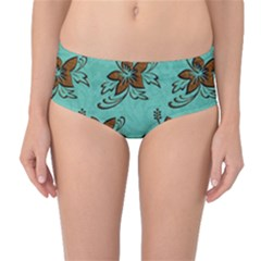 Chocolate Background Floral Pattern Mid Waist Bikini Bottoms
