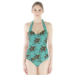 Chocolate Background Floral Pattern Halter Swimsuit