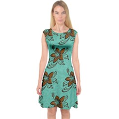 Chocolate Background Floral Pattern Capsleeve Midi Dress