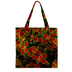 Flower Red Nature Garden Natural Zipper Grocery Tote Bag