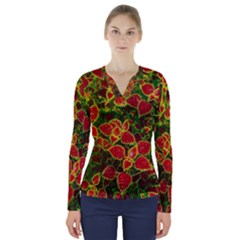Flower Red Nature Garden Natural V Neck Long Sleeve Top