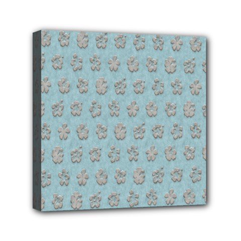 Texture Background Beige Grey Blue Mini Canvas 6  X 6  by Nexatart