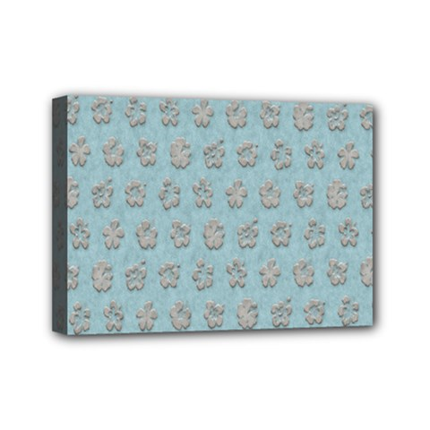 Texture Background Beige Grey Blue Mini Canvas 7  X 5