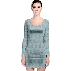 Texture Background Beige Grey Blue Long Sleeve Bodycon Dress