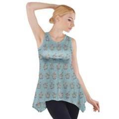 Texture Background Beige Grey Blue Side Drop Tank Tunic