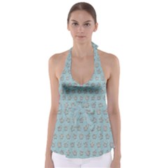 Texture Background Beige Grey Blue Babydoll Tankini Top