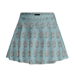 Texture Background Beige Grey Blue Mini Flare Skirt