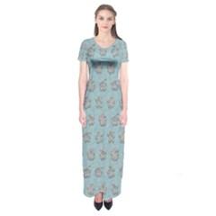 Texture Background Beige Grey Blue Short Sleeve Maxi Dress