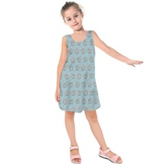 Texture Background Beige Grey Blue Kids  Sleeveless Dress