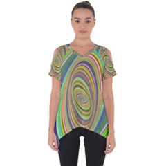 Ellipse Background Elliptical Cut Out Side Drop Tee