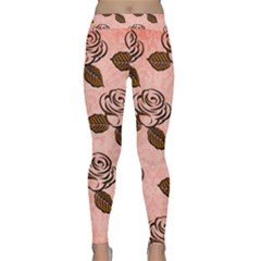 Chocolate Background Floral Pattern Classic Yoga Leggings
