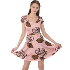 Chocolate Background Floral Pattern Cap Sleeve Dress