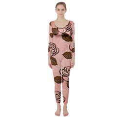 Chocolate Background Floral Pattern Long Sleeve Catsuit