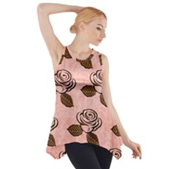 Chocolate Background Floral Pattern Side Drop Tank Tunic