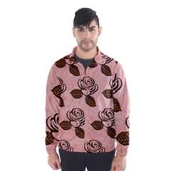 Chocolate Background Floral Pattern Wind Breaker (men)