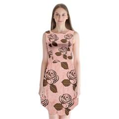 Chocolate Background Floral Pattern Sleeveless Chiffon Dress