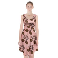 Chocolate Background Floral Pattern Racerback Midi Dress