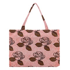 Chocolate Background Floral Pattern Medium Tote Bag