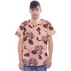 Chocolate Background Floral Pattern Men s V Neck Scrub Top
