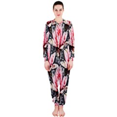 Water Lily Background Pattern Onepiece Jumpsuit (ladies)