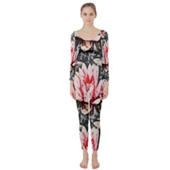 Water Lily Background Pattern Long Sleeve Catsuit