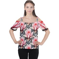 Water Lily Background Pattern Cutout Shoulder Tee