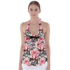 Water Lily Background Pattern Babydoll Tankini Top