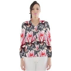 Water Lily Background Pattern Wind Breaker (women)