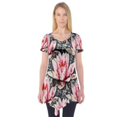 Water Lily Background Pattern Short Sleeve Tunic