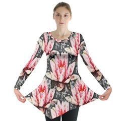 Water Lily Background Pattern Long Sleeve Tunic